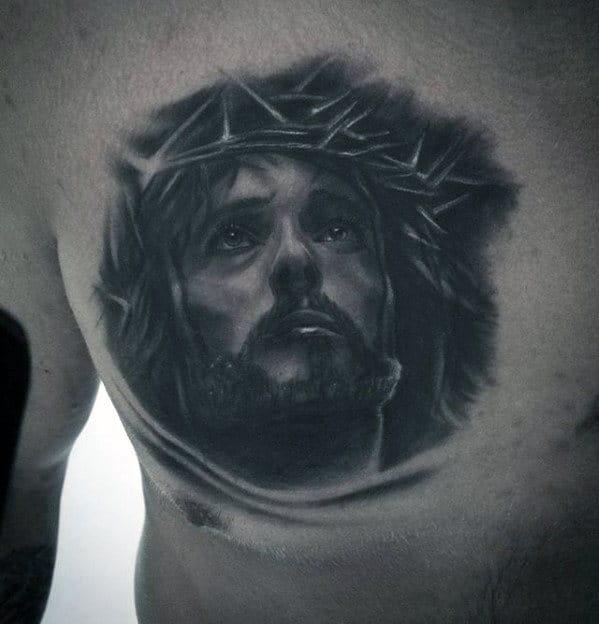 Mens Jesus Head Christian Upper Chest Tattoo