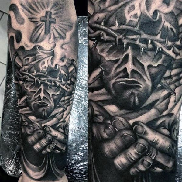 Mens Jesus Holding Hands Forearm Sleeve Tattoo