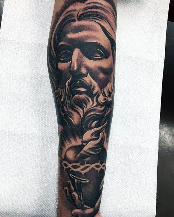 Mens Jesus Holding Sacred Heart Forearm Sleeve Tattoo