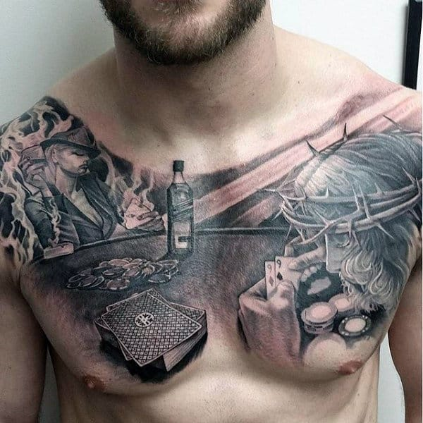 Mens Jesus Playing Card Poker Tattoo On Chest