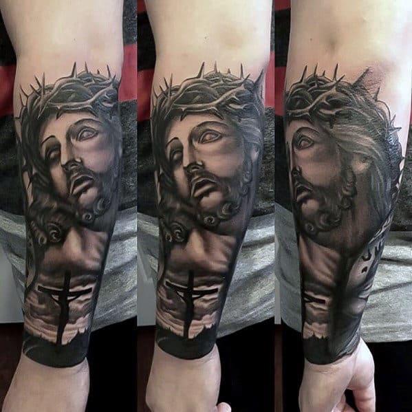 Mens Jesus Portrait With Cross Forearm Sleeve Tattoo