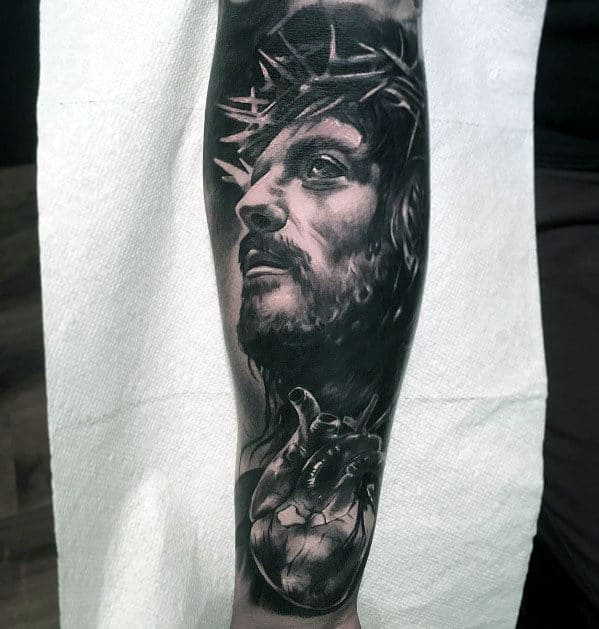 Mens Jesus With Anatomical Heart Forearm Sleeve Tattoos