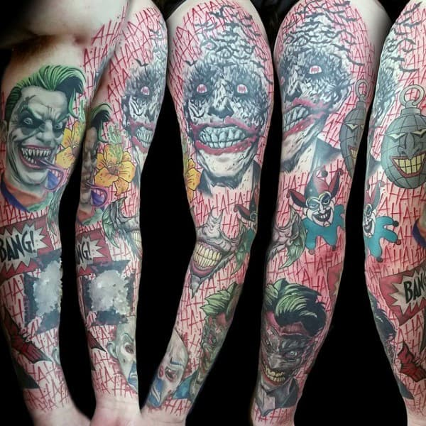 Mens Joker Themed Full Sleeve Tattoos