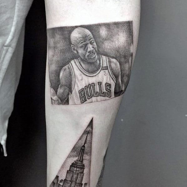 Mens Jordan Photograph Tattoo On Arm