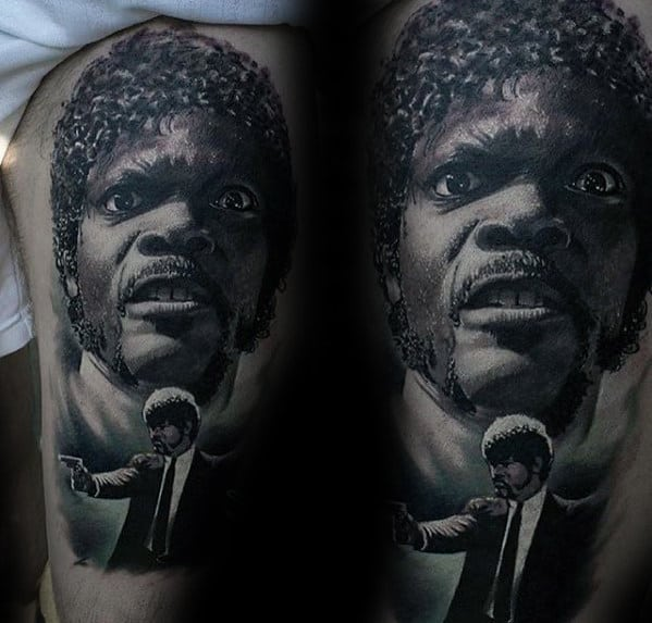 Mens Jules Winnfield Pulp Fiction Thigh Tattoo With Realistic Design