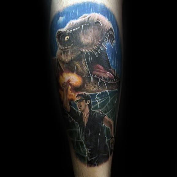 Mens Jurassic Park Tattoo Dinosaur Forearm Design Inspiration