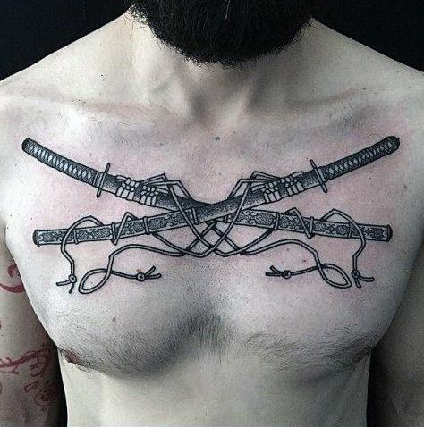 Mens Katana Sword Upper Chest Tattoo