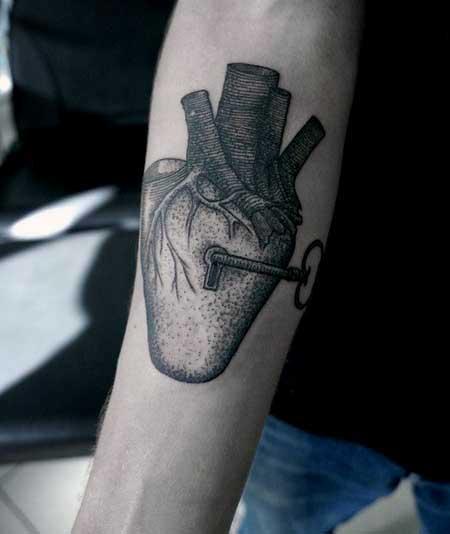 Mens Key To Heart Tattoo On Arm