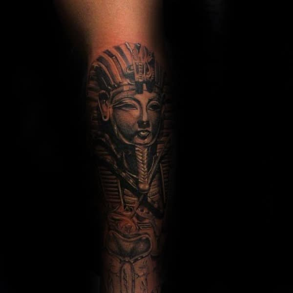 Mens King Tut Forearm Shaded Ink Design Ideas