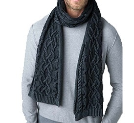 Mens Kinross Chunky Cotton Cable Scarf Purchase