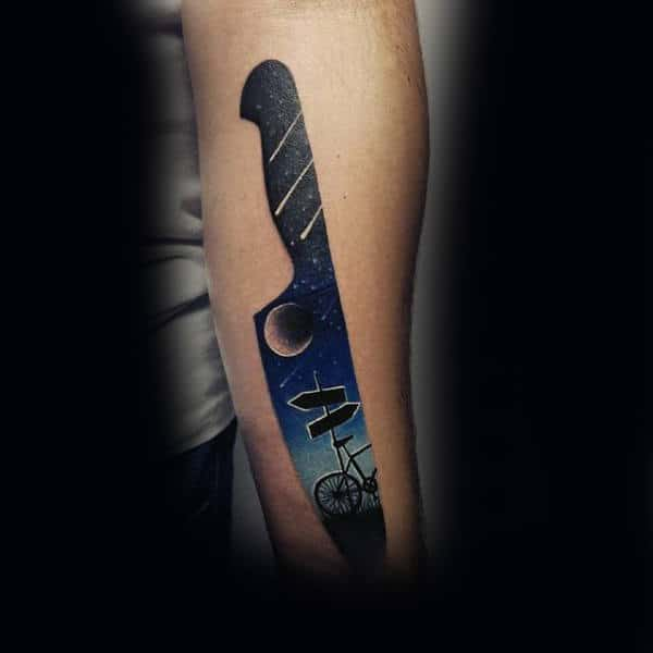 Mens Kitchen Knife Tattoo Of The Sky With Comets