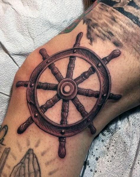 Mens Knee Nautical Ship Wheel Tattoo