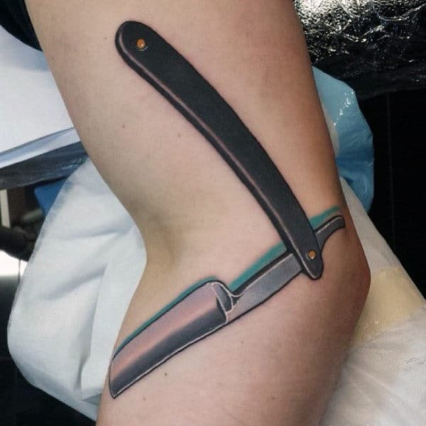 Mens Knees Straight Razor Tattoo
