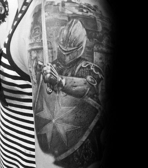 Mens Knight 3d Shield Tattoo On Arm
