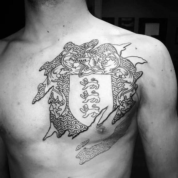 Mens Knight Chainmail Chest Shield Tattoo