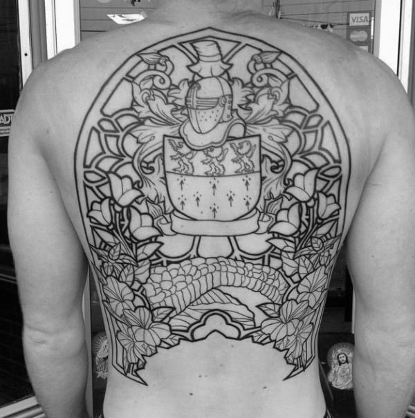 Mens Knight Crest Stained Glass Back Tattoo Designs