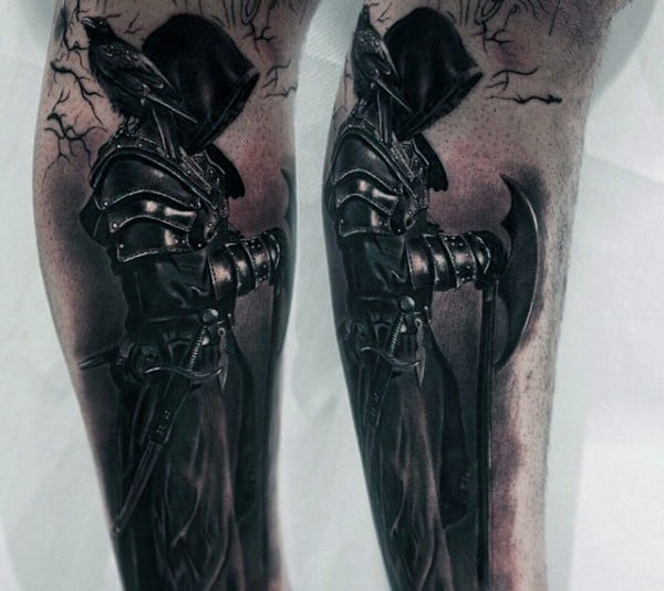 Mens Knight In Armor Inner Forearm Tattoos