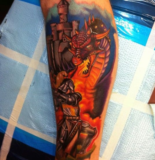 Mens Knight Tattoos With Dragons And Fire