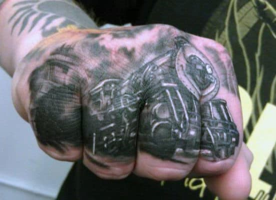 Mens Knucles Train Tattoos On Hand