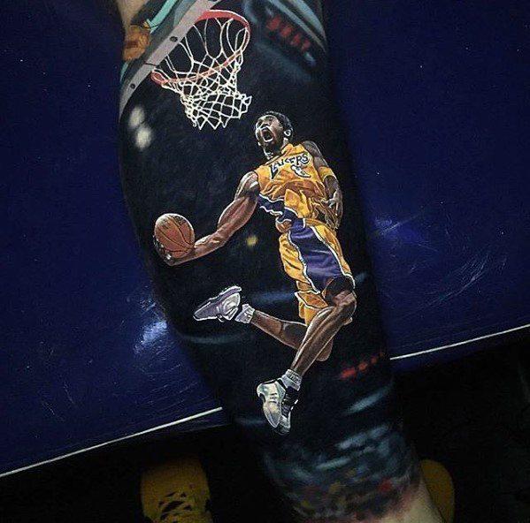 Mens Kobe Bryant Jumping Dunk 3d Realistic Forearm Sleeve Tattoo Ideas