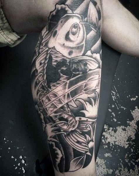 Men's Koi Fish And Lotus Flower Tattoo
