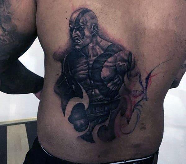 Mens Kratos Back Tattoo Ideas