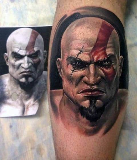 Mens Kratos Creative Leg Calf Portrait Tattoo