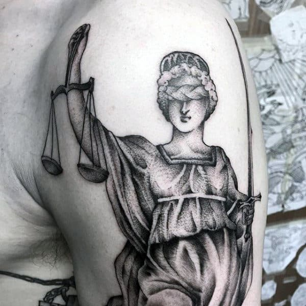 Mens Lady Justice Dotwork Arm Tattoo Ideas
