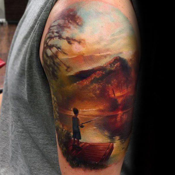 Mens Lake Tattoo Ideas Half Sleeve