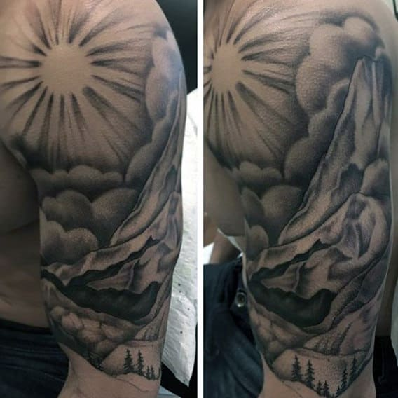 Mens Landscape Sun Rays With Mountains Half Sleeve Tattoos