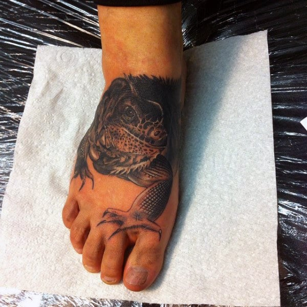 Mens Large Limbed Lizard Tattoo Foot