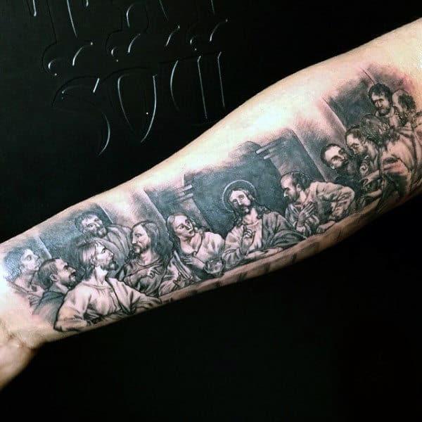 Mens Last Supper Jesus Tattoo Design Ideas
