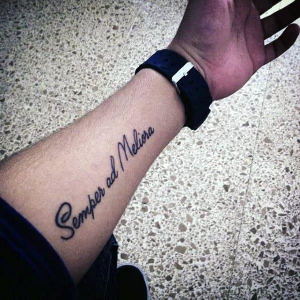 Mens Latin Tattoo On Inner Forearm