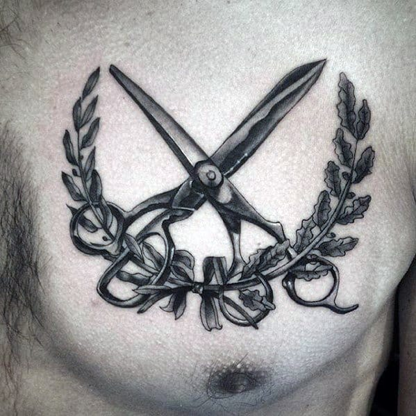 Mens Laurel Wreath Tattoo Design Inspiration Upper Chest