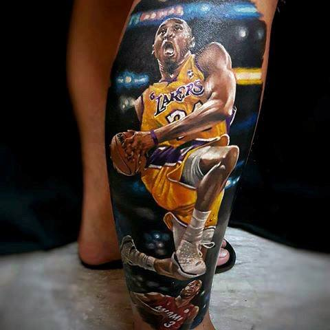 Mens Leg 3d Kobe Bryant Tattoo Design Ideas