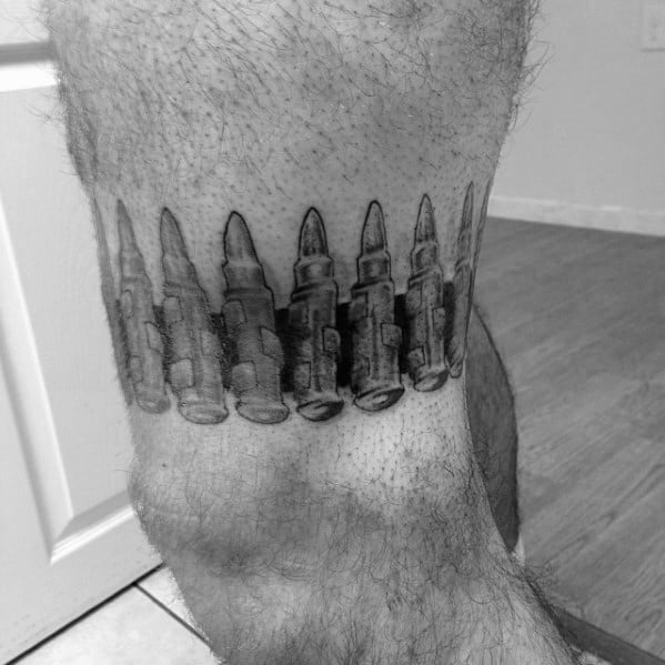 Mens Leg Band Ammo Bullets Tattoos