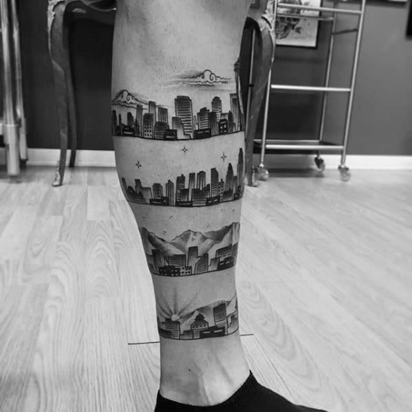 Mens Leg Band City Skyline Tattoo Designs
