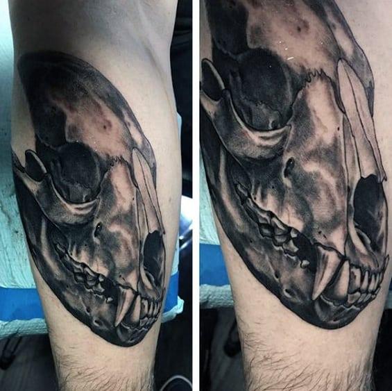 Mens Leg Bear Skull 3d Tattoo Designs