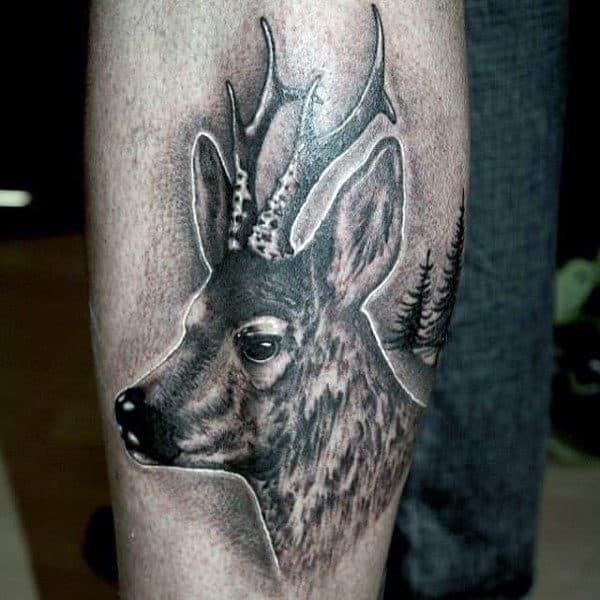 Mens Leg Calf Deer Tattoo Design