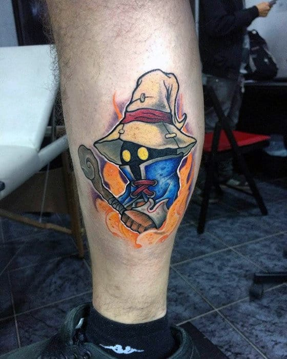 mens leg calf final fantasy ix vivi ornitier tattoo