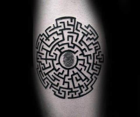 Mens Leg Calf Fingerprint With Maze Tattoo Ideas