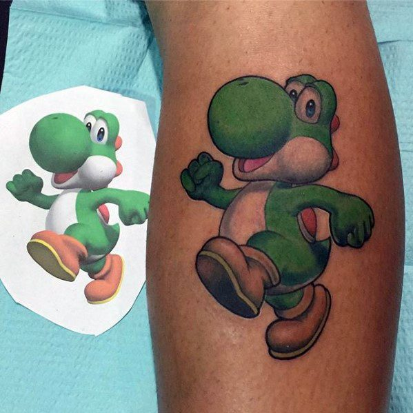 Mens Leg Calf Gaming Tattoo Yoshi Design