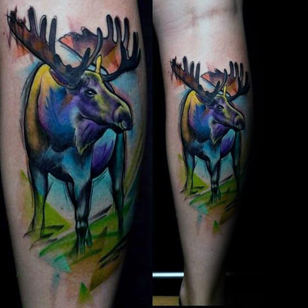 Mens Leg Calf Moose Watercolor Tattoos