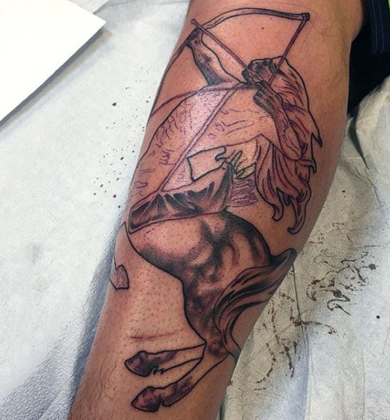 Mens Leg Calf Sagittarius Tattoo