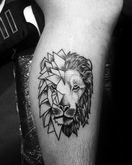 Mens Leg Calf Tattoo Ideas With Geometric Lion Design