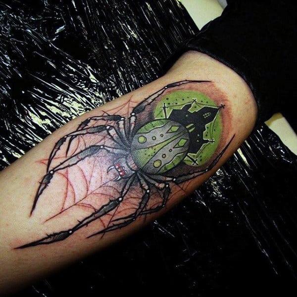 Mens Leg Calf Thigh Haunted Green Spider Web Tattoo