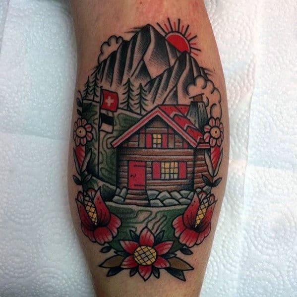 Mens Leg Calf Traditional Cabin Tattoo Design Ideas