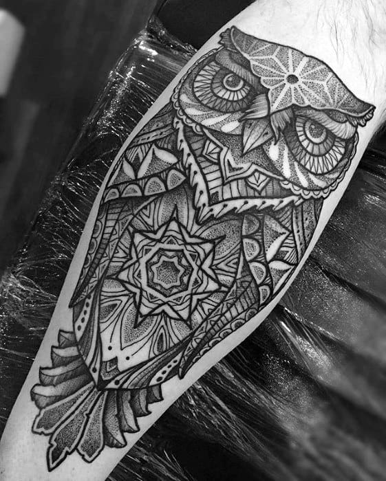 Mens Leg Detailed Geometric Owl Tattoo Designs