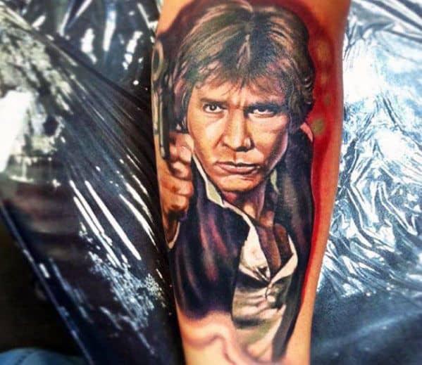 Mens Leg Han Solo Tattoo Design Inspiration