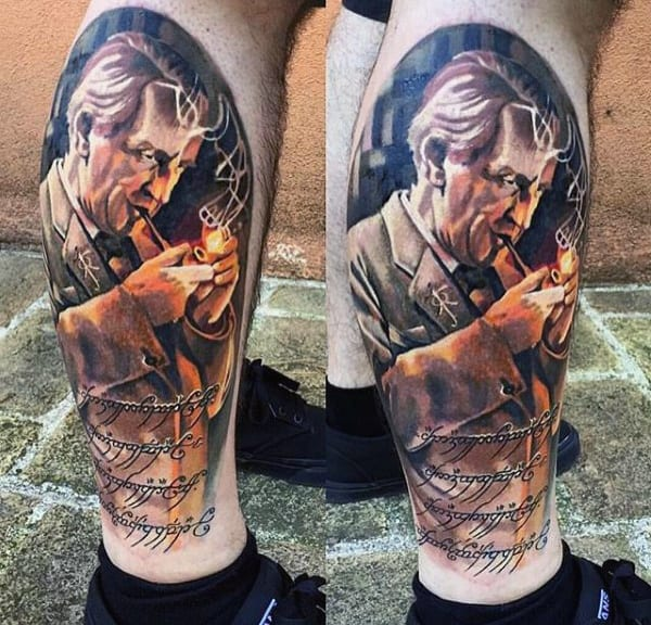Mens Leg Lord Of The Rings Tattoo Designs